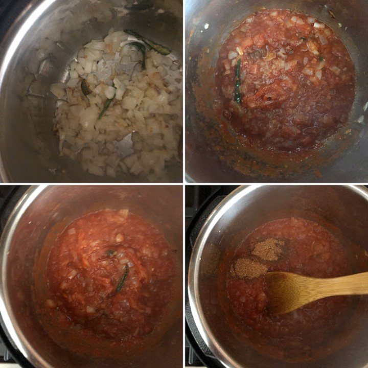 Step by step photos showing sauteing onions, tomatoes and spices