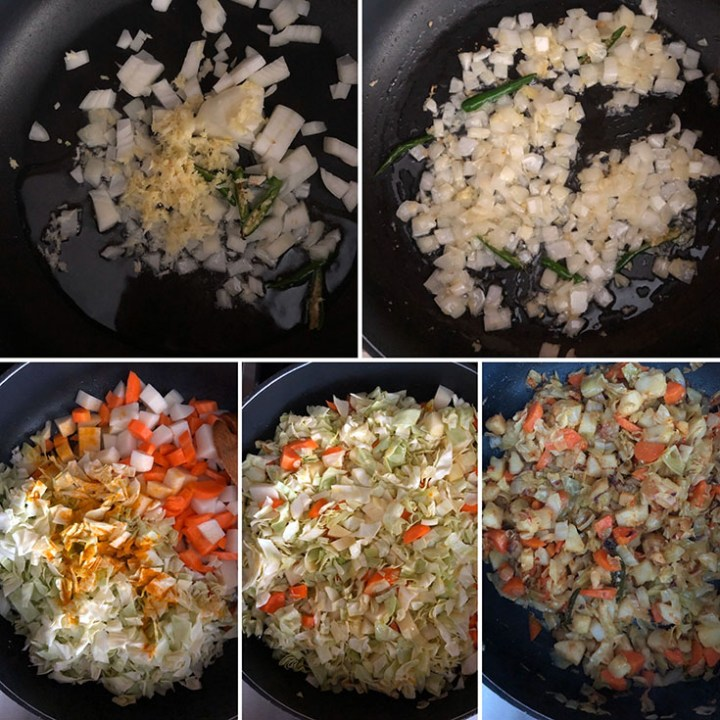 Step by step photos showing skillet with onions, ginger, green chilies, carrot, potato and cabbage being cooked