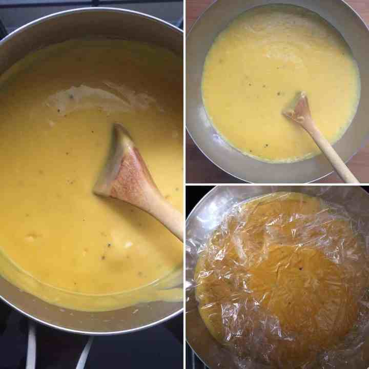 Step by step photos showing dessert being made and plastic wrap placed right on it to prevent skin from forming