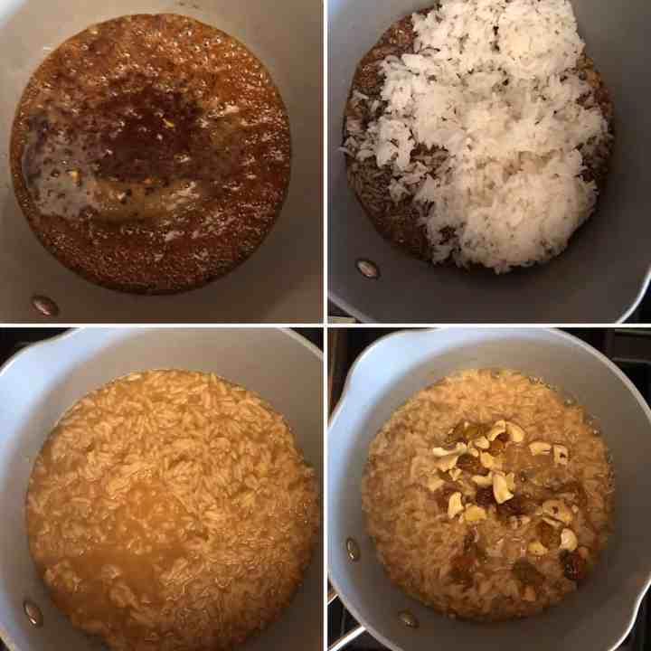 Step by step photos showing melted jaggery with rice added