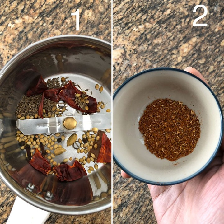 Blender with whole spices to make spice powder and a bowl with ground spices