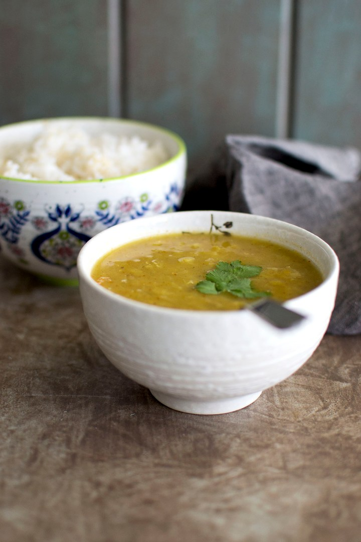 White bowl with Nepali dal bhat