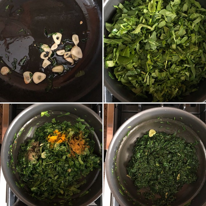 Step by step photos showing how to make sauteed greens