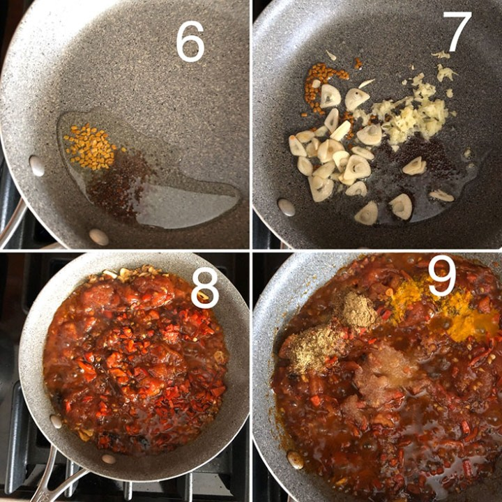 Step by step photos showing the making of tomato achar
