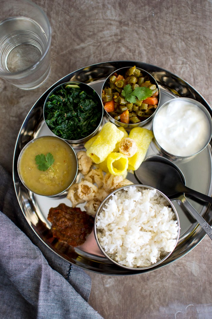 Nepali Thali with vegetarian dishes