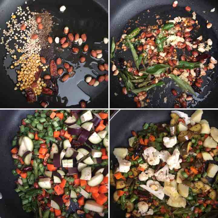 Step by step photos showing the sauteed lentils, seeds and vegetables
