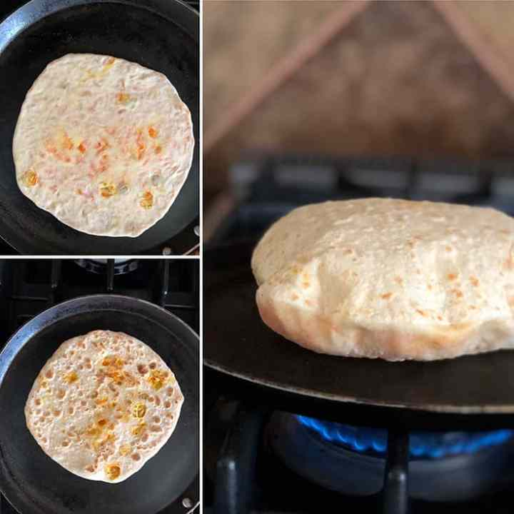 Step by step photos of cooking carrot poli and a puffed up flatbread
