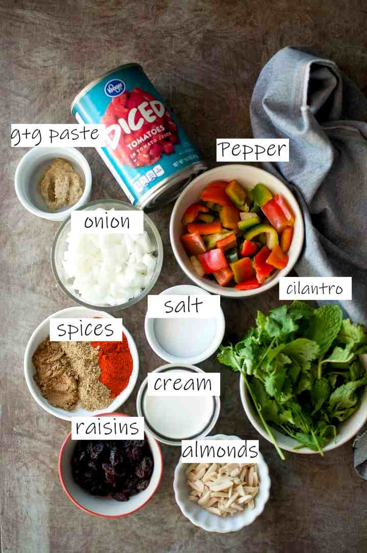 Ingredients needed to make the masala / curry sauce for the dish