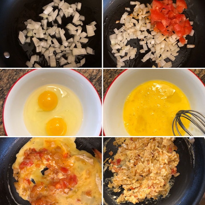 Step by step photos showing the making of scrambled eggs
