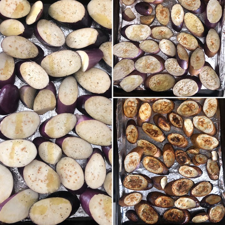 Step by step photos showing the roasting of sliced eggplants under the broiler
