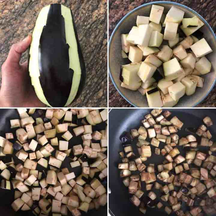 Step by step photos showing peeled & diced eggplant, sauteed until golden