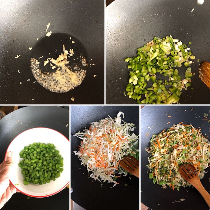 Step by step photos of vegetables being cooked to make fried rice