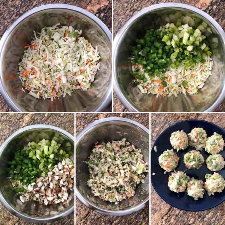 Step by Step photos showing chopped veggies and making for veggie balls