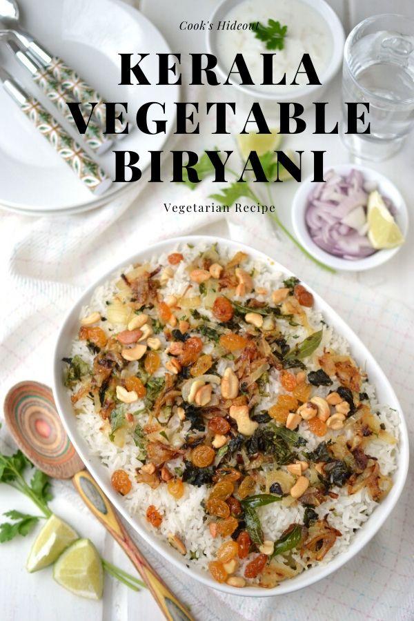White baking dish with Kerala Vegetable Biryani