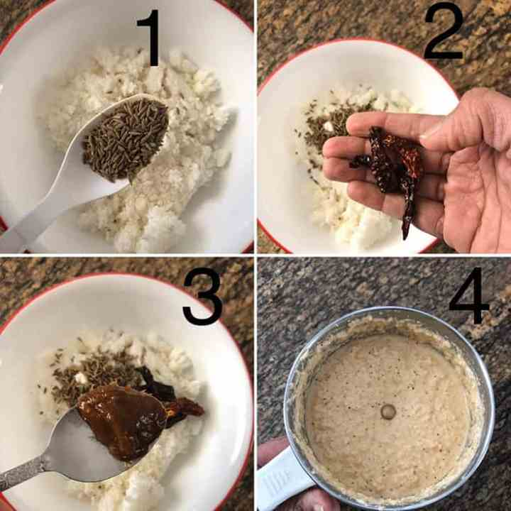 Step by Step photos to make Coconut spice paste for vegetarian curry