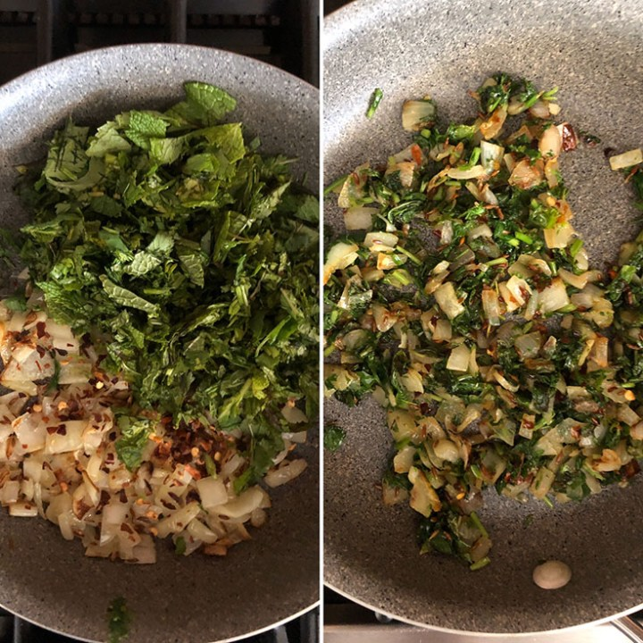 Step by step photos showing addition of herbs to sauteed onions and cooked till wilted