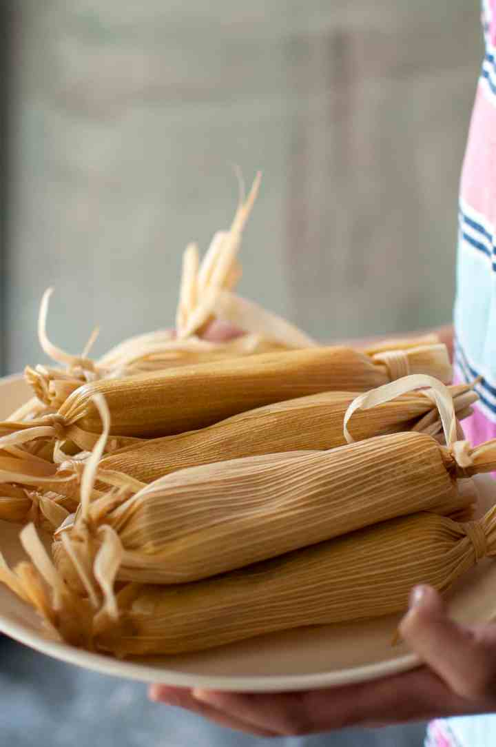 Plate with stack of tamale