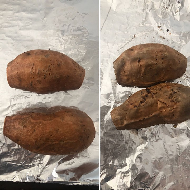 Photos showing 2 sweet potatoes before and after baking