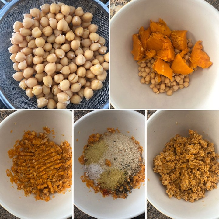 Step by step photos showing drained canned chickpeas mashed with roasted sweet potato. Flour, breadcrumbs are added to make the burger mixture