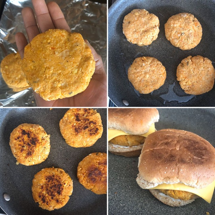 Step by step photos showing the making and cooking of burgers