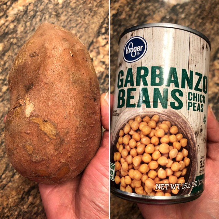 Photos of sweet potato and canned chickpeas