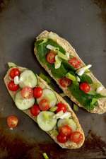 Cucumber Tomato Sandwich with Hummus