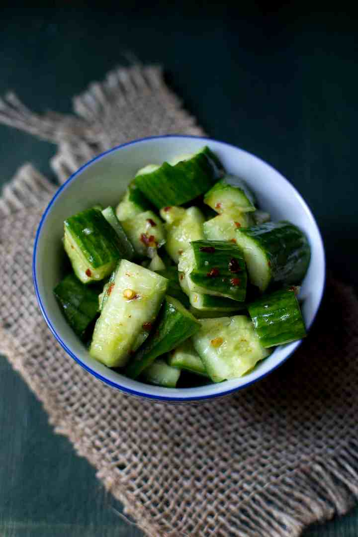 white bowl with cucumber salad