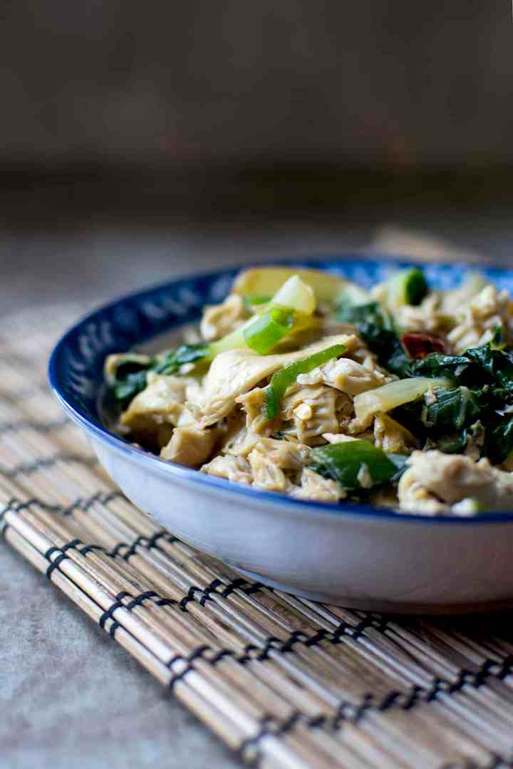 Blue bowl with tofu skin noodles stir fry