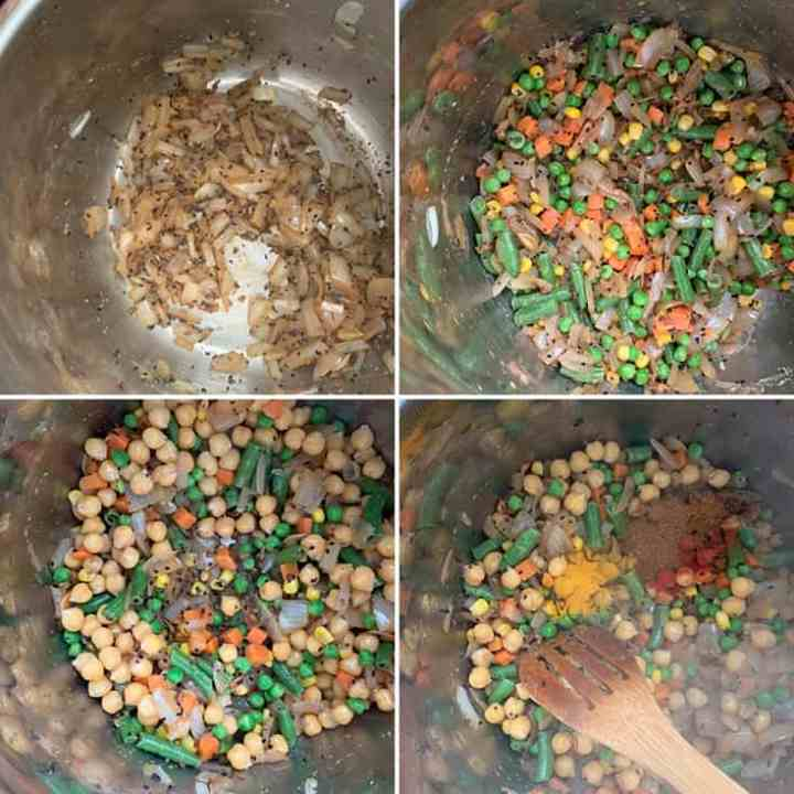 Step by step photos showing sauteed spices, onions, mixed veggies, chickpeas and ground spices