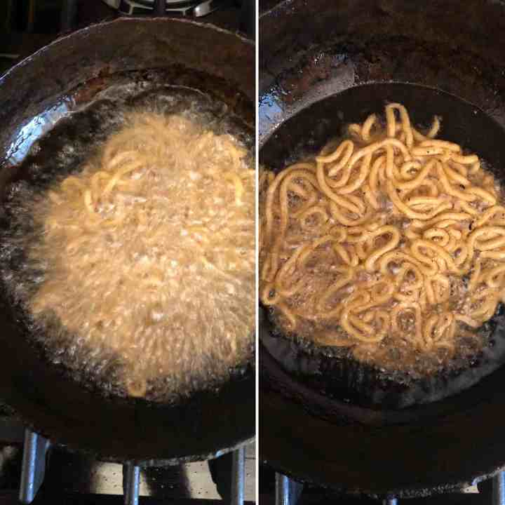 Side by side photos showing the deep frying of janthikalu