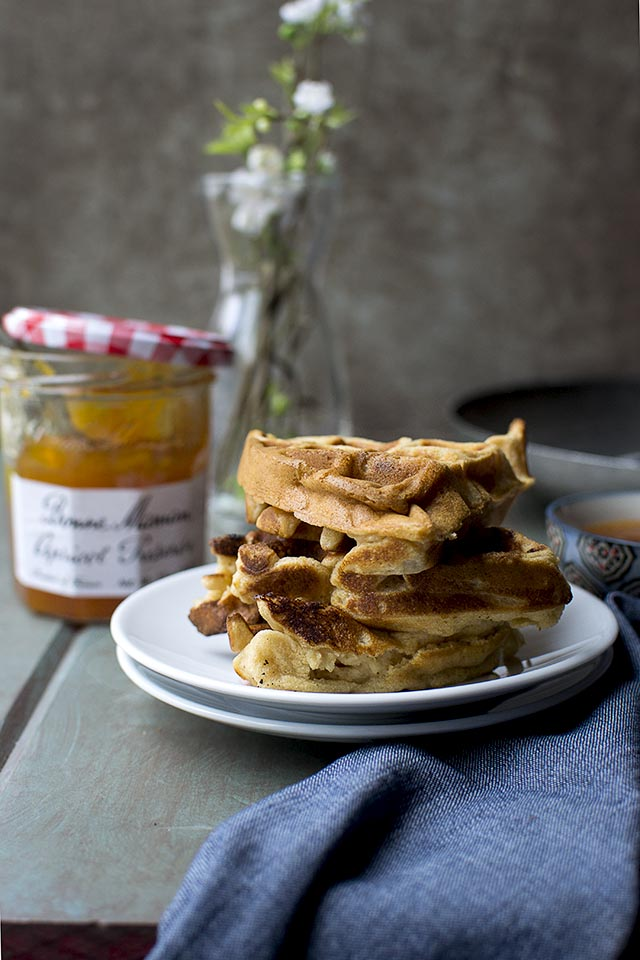 Apricot Preserves & Almond Waffles (Vegan Recipe)