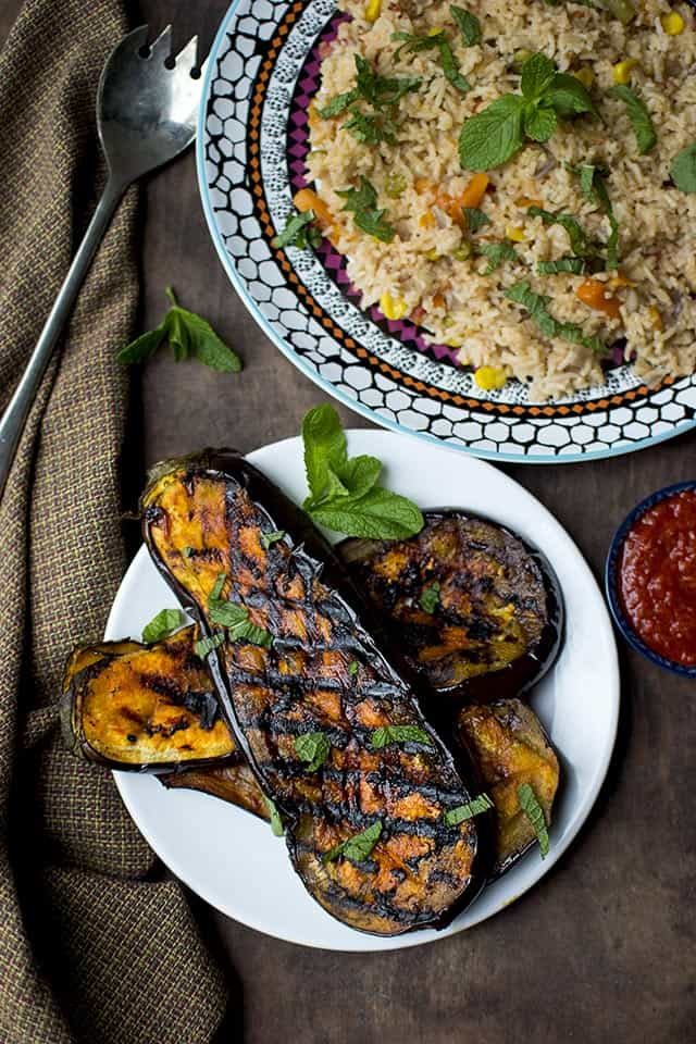 Grilled Eggplant with Harissa