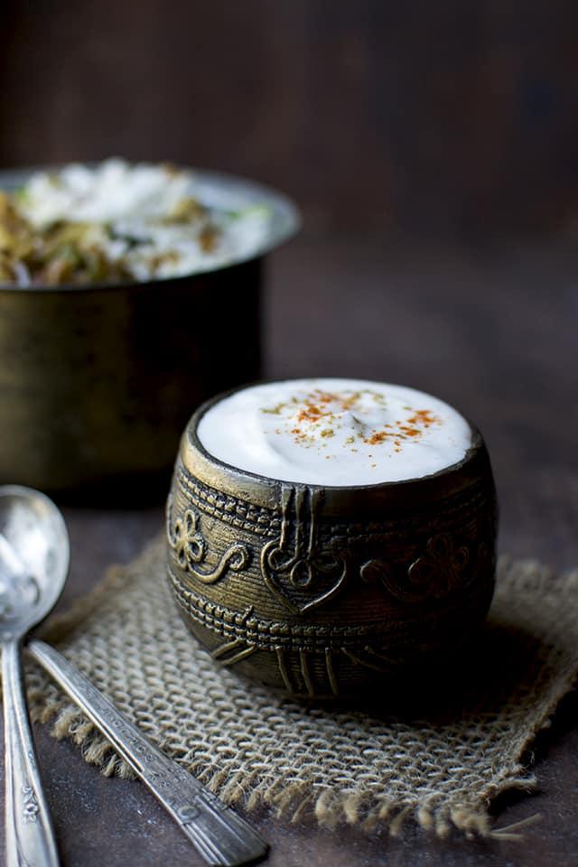Bowl with Hyderabadi Bhurani Raita
