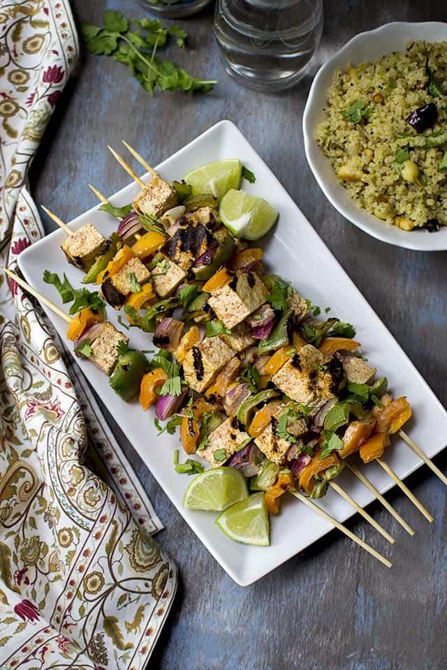 Vegan Tofu & Veggie Kebabs