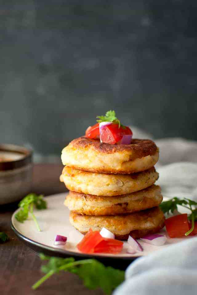 Latin Potato Pancakes with Peanut Sauce