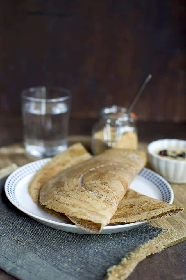 Dosa with Sprouted Ragi (Finger Millet)