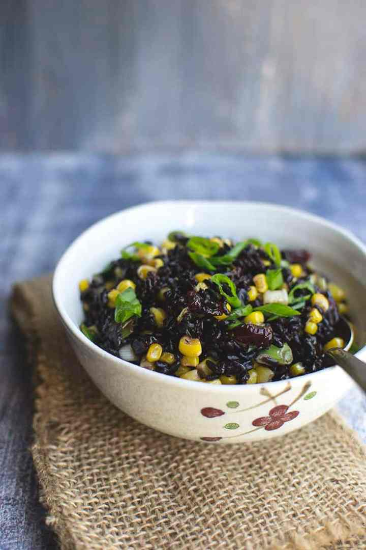 Warm Black Rice and Corn Salad