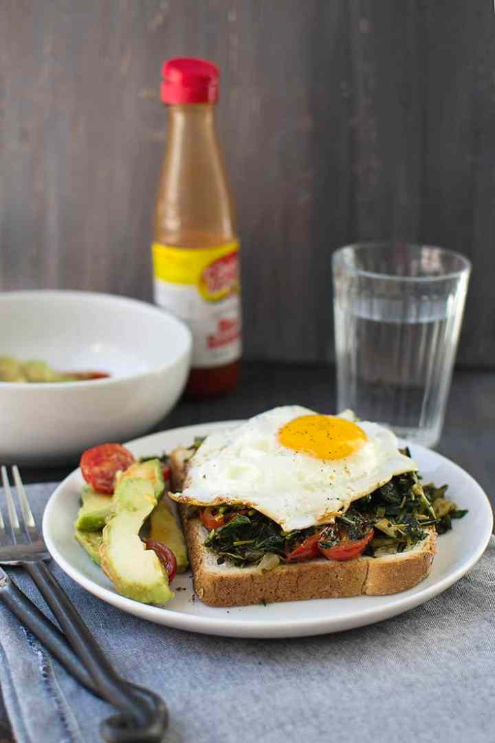 Open face Egg Sandwich with Collards