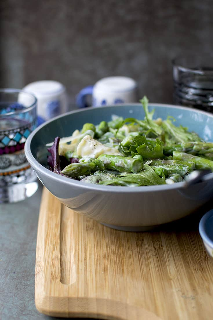 Lighter Alfredo with Spring Vegetables
