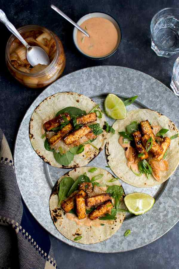 Korean Tofu BBQ Tacos