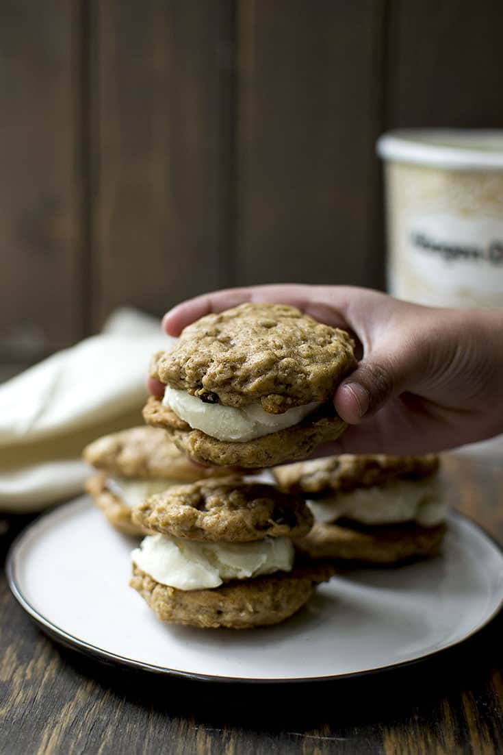 Vegan Oatmeal Raisin Cookies and Ice Cream Sandwich