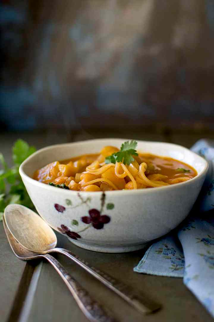 Bowl of Red Curry Soup with Noodles