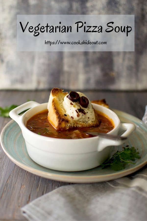 Pin Image for Tomato Soup with cheese bread on top