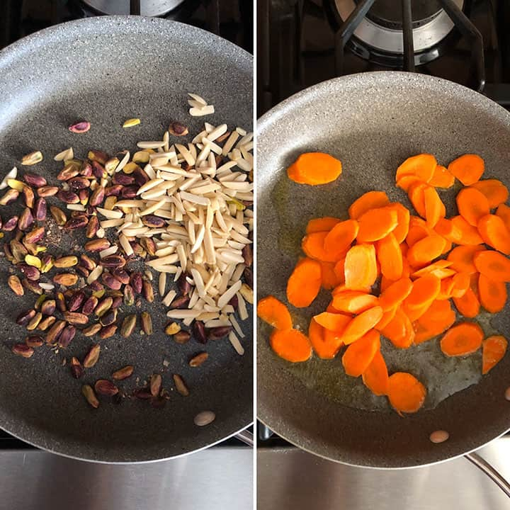 Toasting Almonds and Pistachios, Cooking Carrots