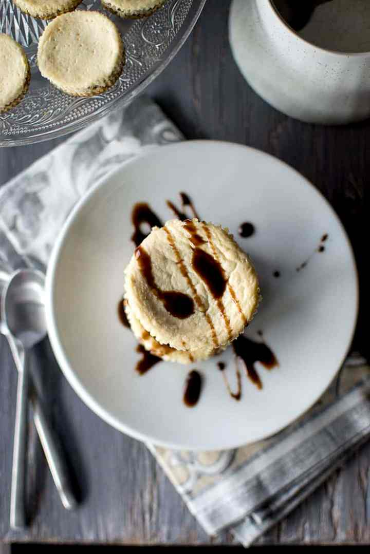 Plate with Mini Banana Cheesecake with Chocolate drizzle
