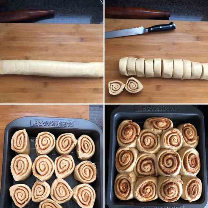 Step by Step photos for cinnamon rolls making