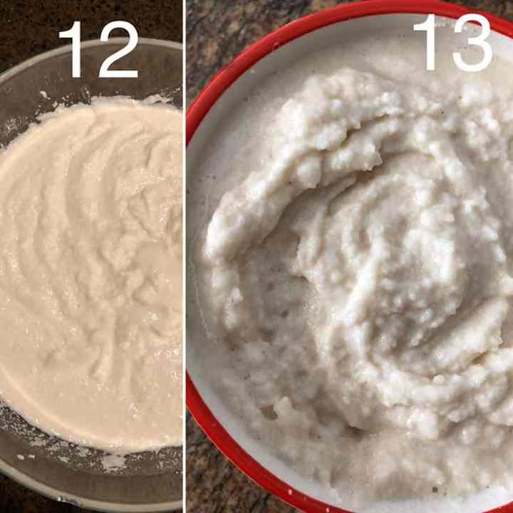 Step by step photos showing unfermented and fermented batter
