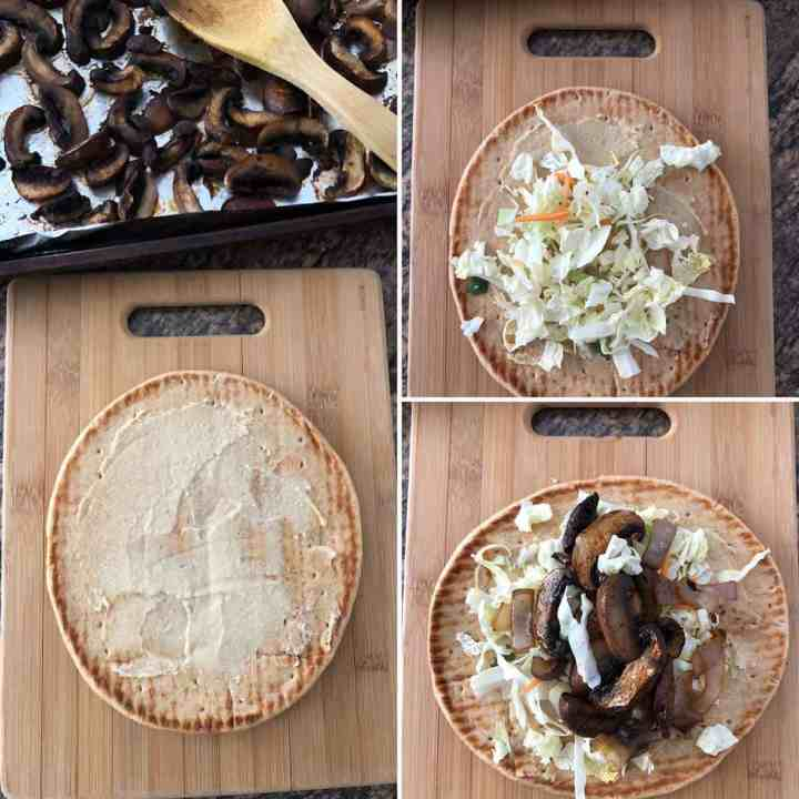 Step by step photos showing the making of Greek Mushroom Pita sandwich