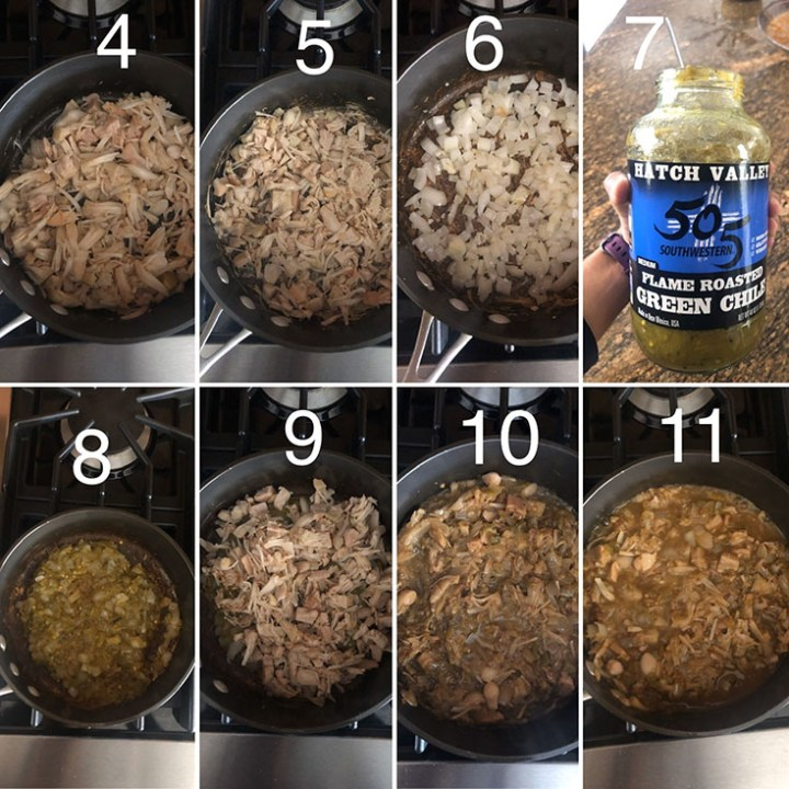 Step by step photos showing the making of spicy vegan jackfruit filling
