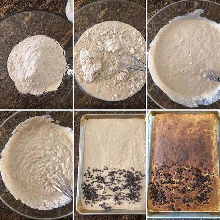 Photos showing mixing of dry ingredients into wet ingredients and making of sheet pan pancakes